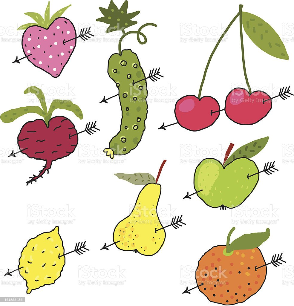 Vegetables and Fruits in love royalty-free stock vector art