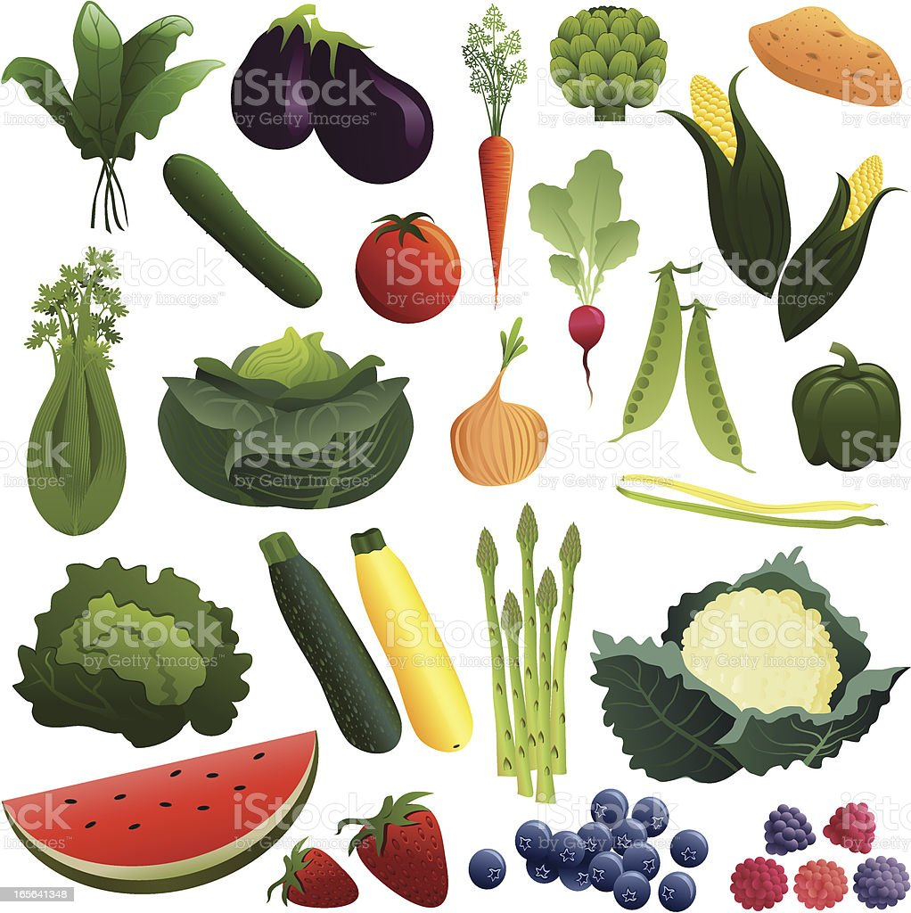 Vegetables and Fruits vector art illustration