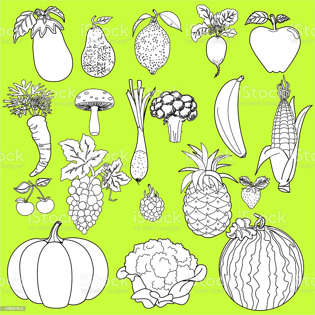 Vegetables and Fruits royalty-free stock vector art