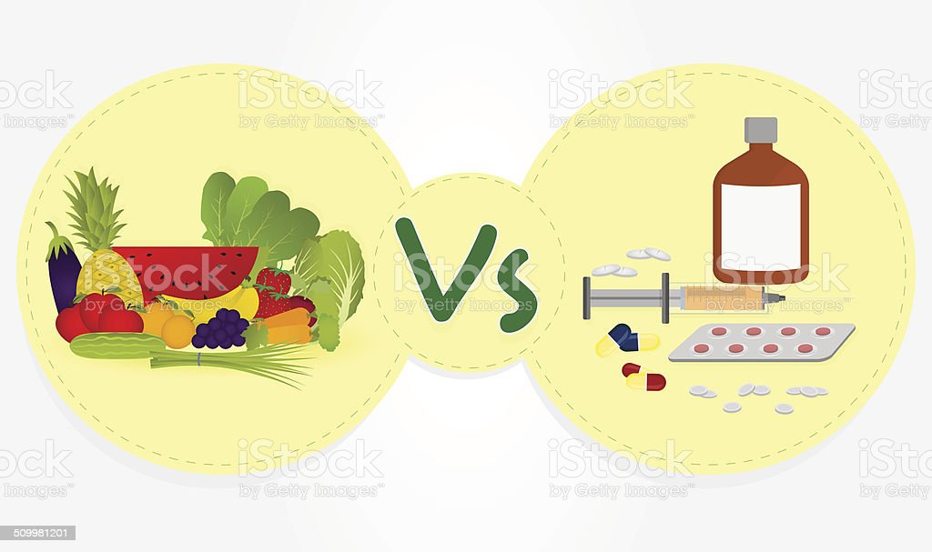 Vegetables and fruits versus drugs. royalty-free stock vector art