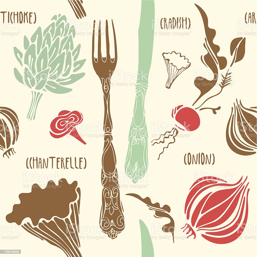 Vegetables and mushrooms seamless pattern. royalty-free stock vector art