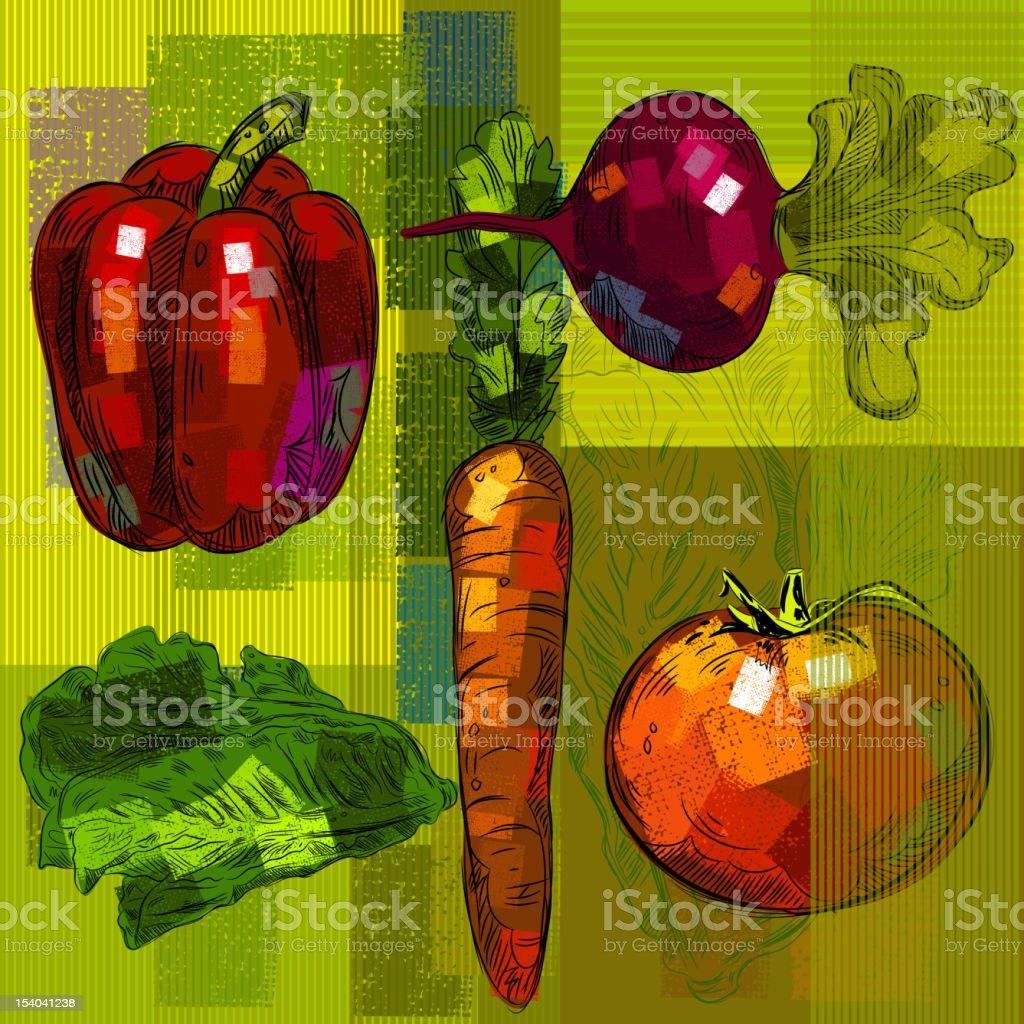Vegetables Background vector art illustration