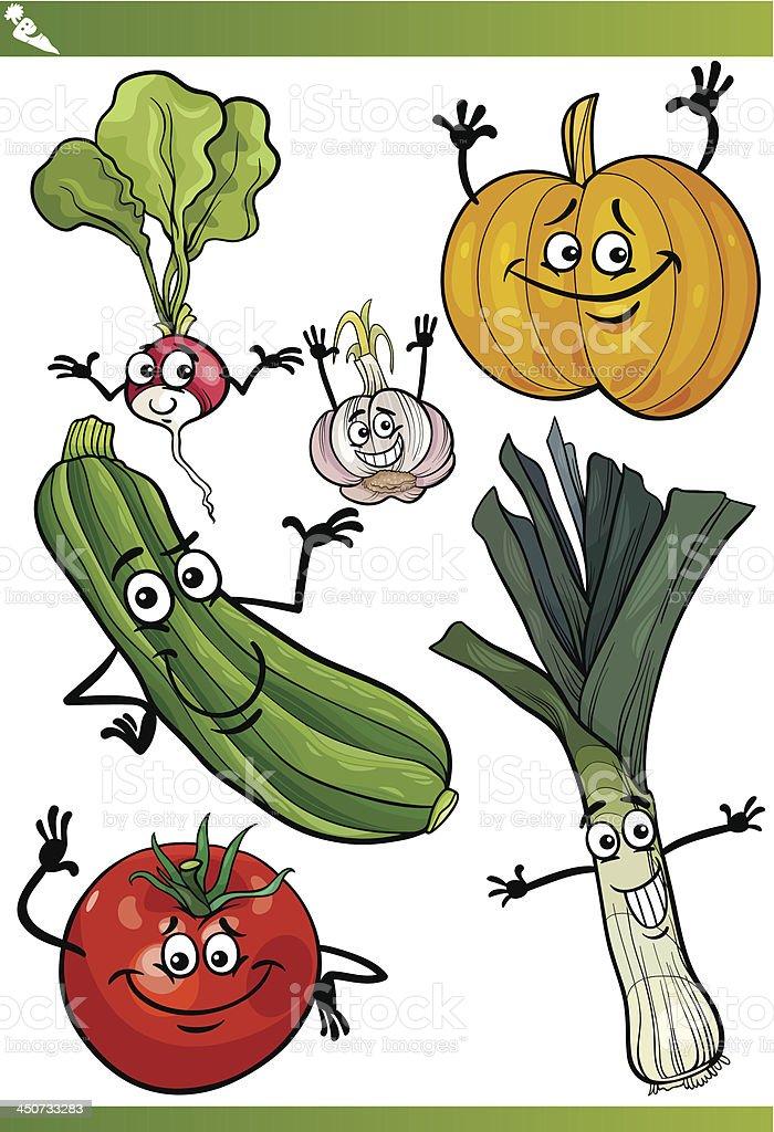 vegetables cartoon illustration set royalty-free stock vector art