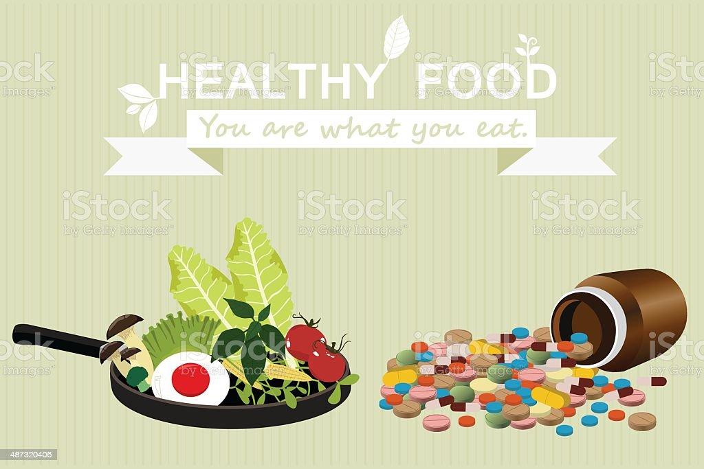 Vegetables. clean food. Cartoon Breakfast. Drugs and supplements. vector illustration vector art illustration
