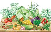 Vegetables collection on a wooden surface
