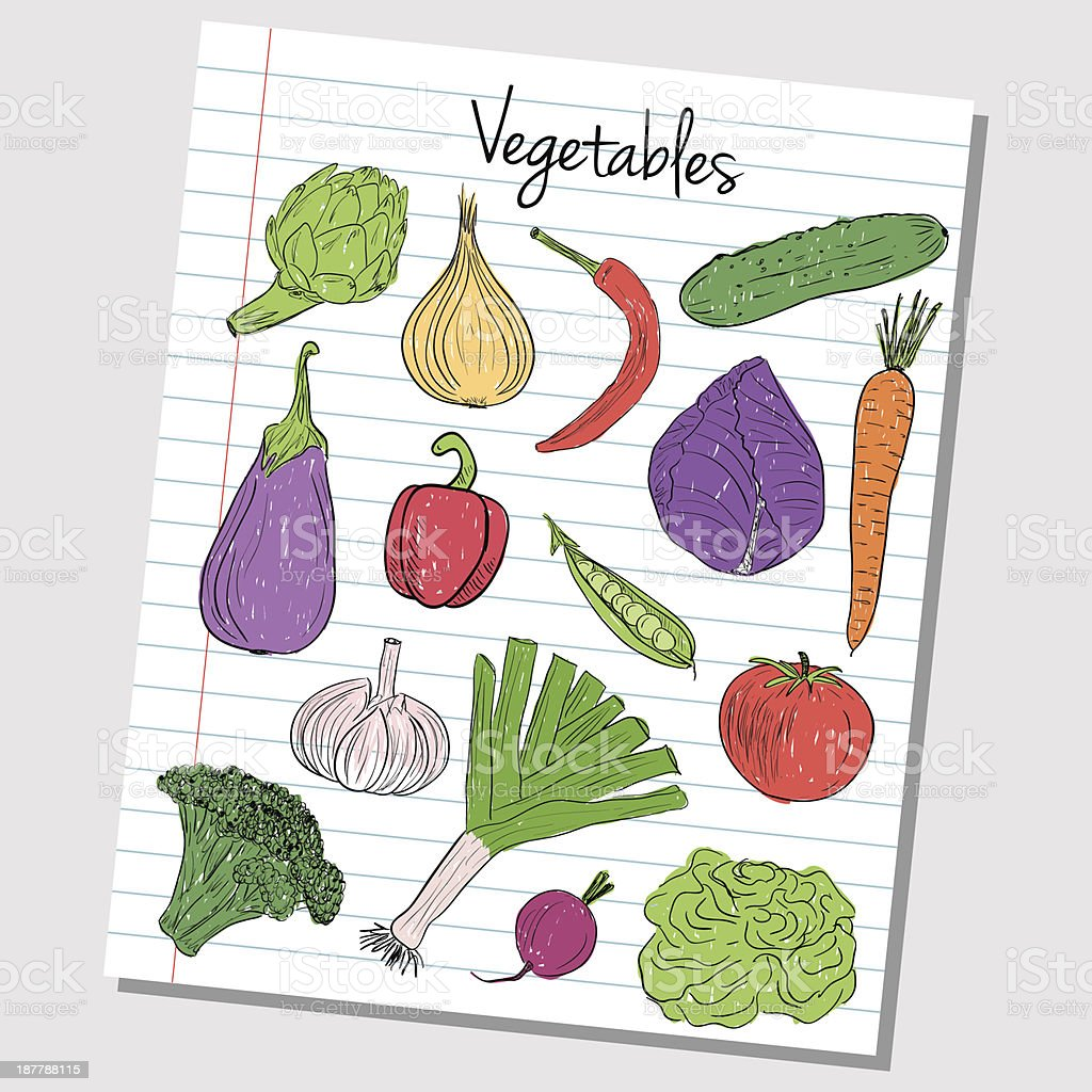 Vegetables doodles - lined paper royalty-free stock vector art