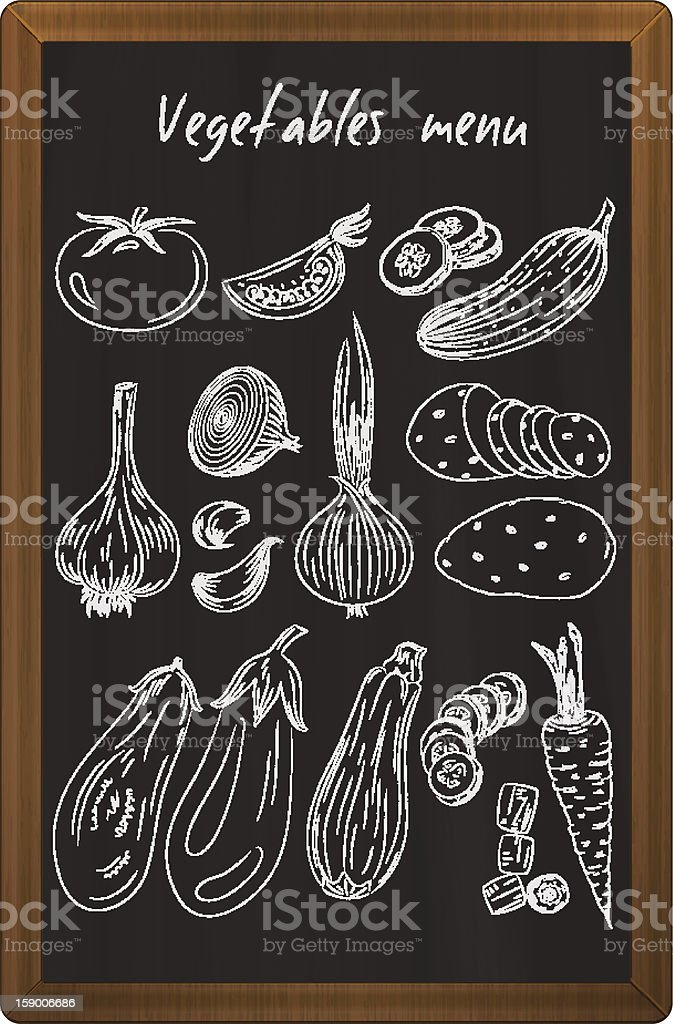 Vegetables drawn in chalk on the blackboard royalty-free stock vector art