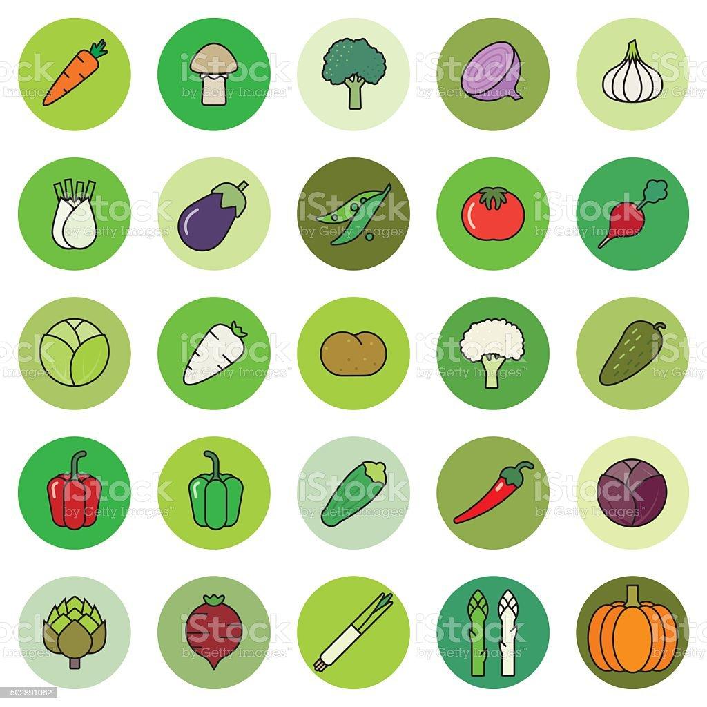Vegetables Filled Outline Vector Icon Set vector art illustration