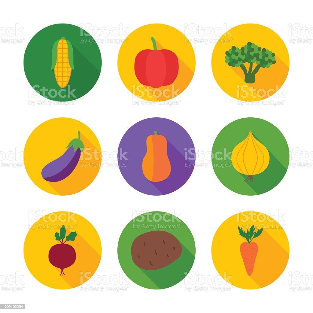 Vegetables flat circle icons vector art illustration