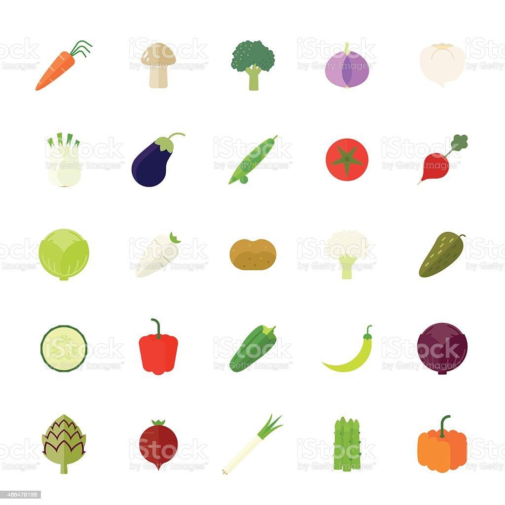 Vegetables Flat Design Vector Icon Set vector art illustration