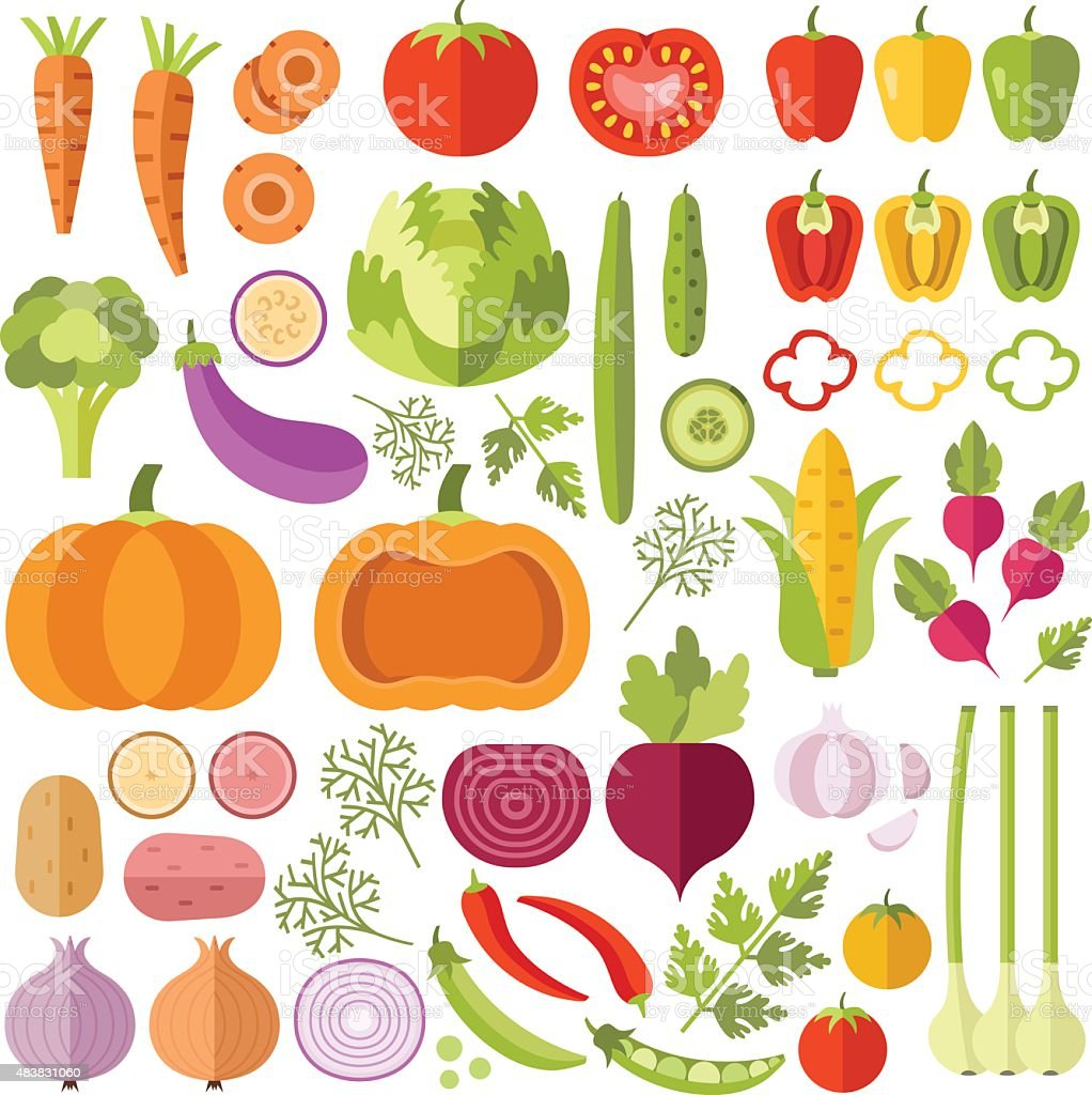 Vegetables flat icons set vector art illustration