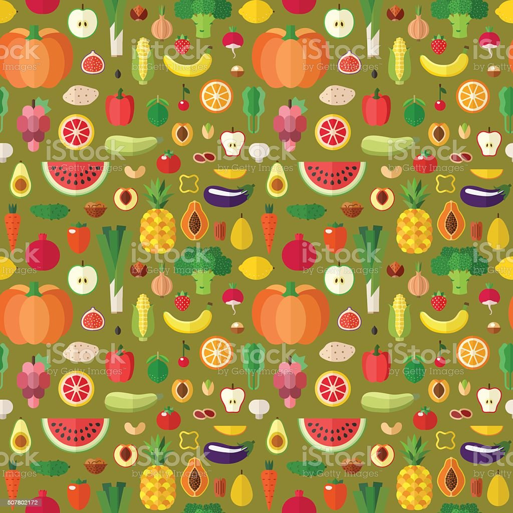 Vegetables, fruits and nuts seamless vector pattern. Flat design. vector art illustration