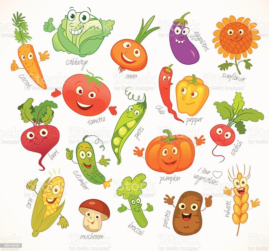 Vegetables. Funny cartoon character vector art illustration