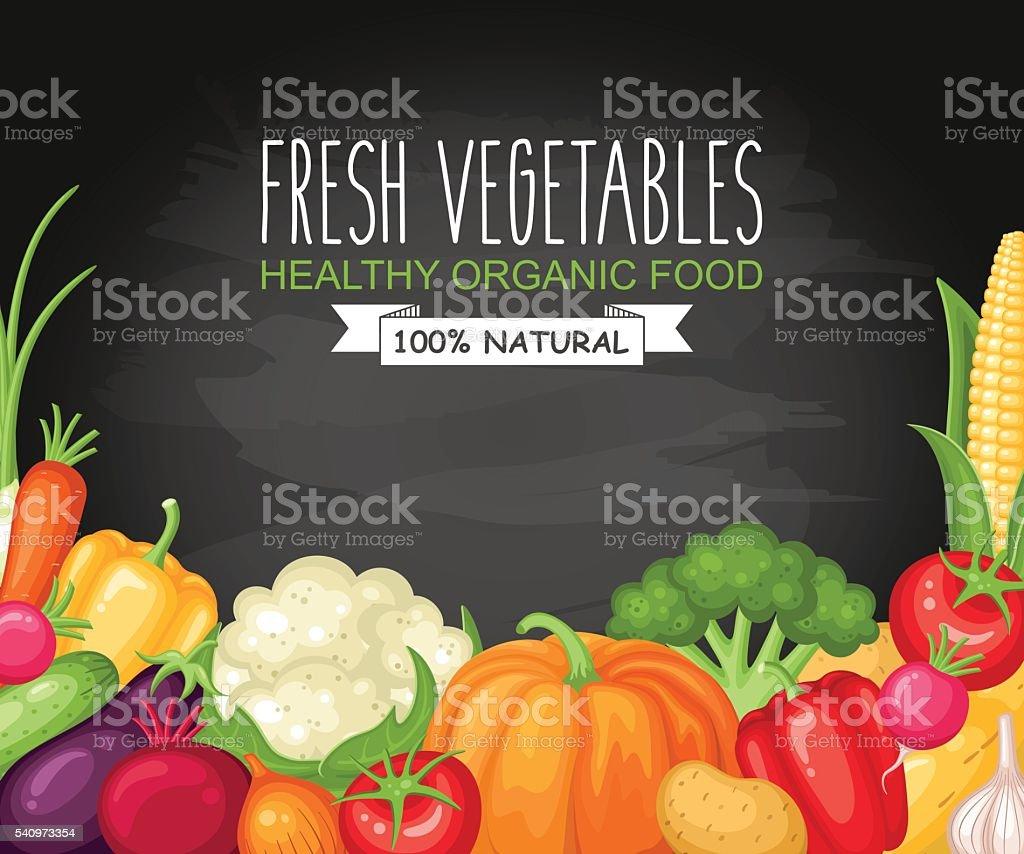 Vegetables harvest on chalkboard background vector art illustration