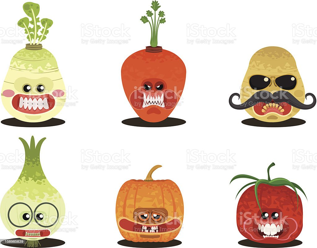 Vegetables Head Cartoon royalty-free stock vector art