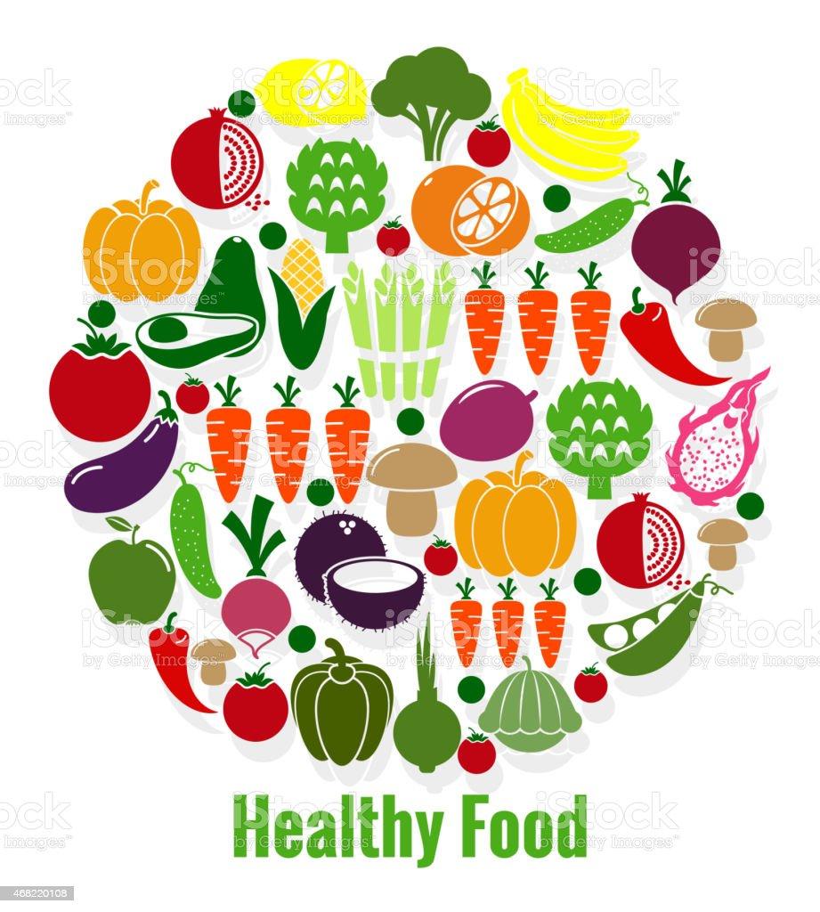 Vegetables healthy food vector art illustration