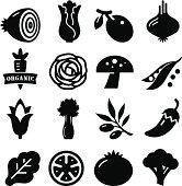 Vegetables Icon - Black Series
