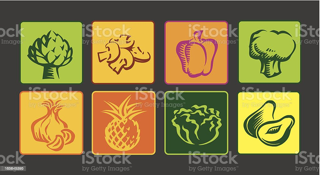 Vegetables Icon Set royalty-free stock vector art