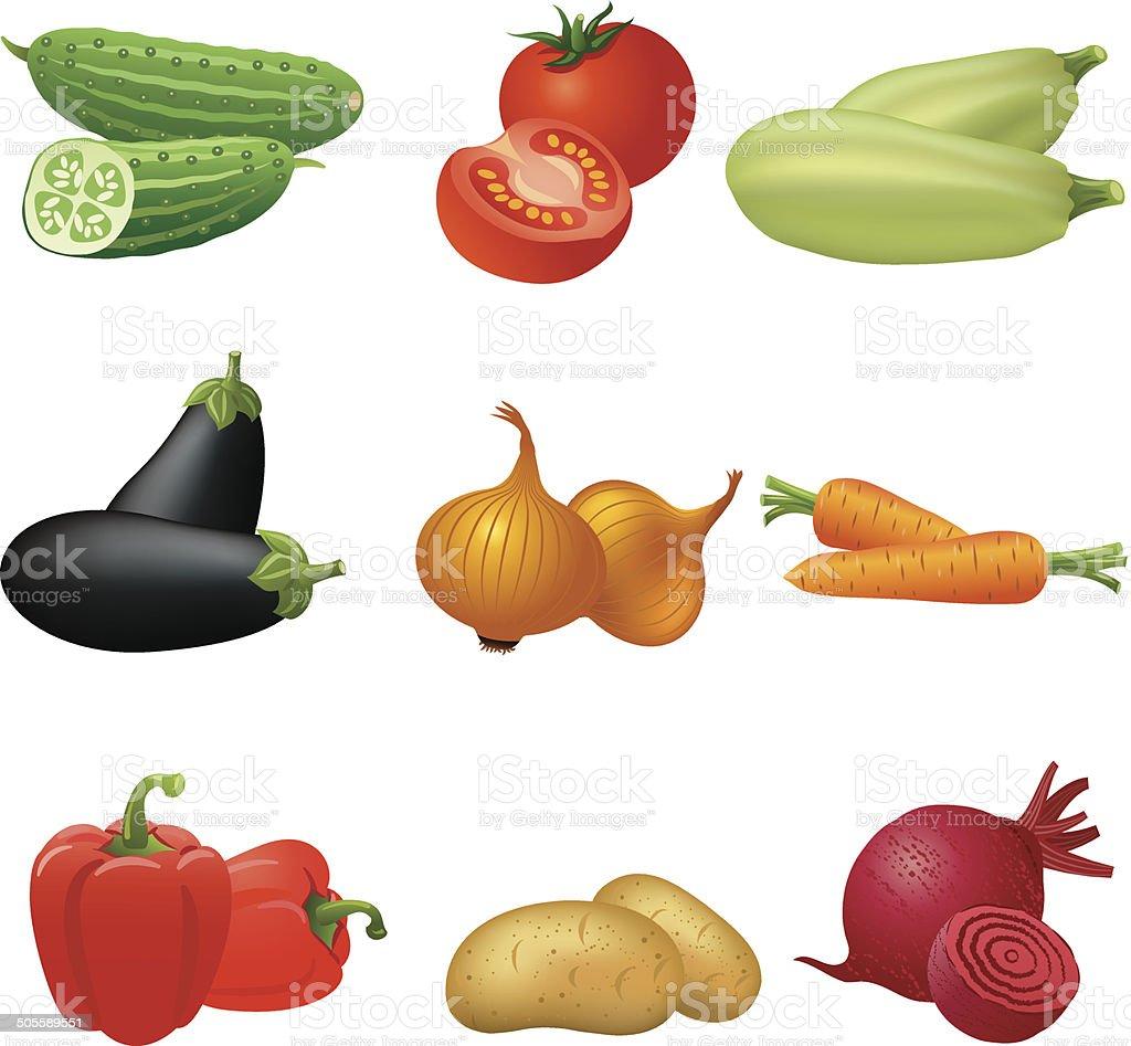 vegetables icon set vector art illustration