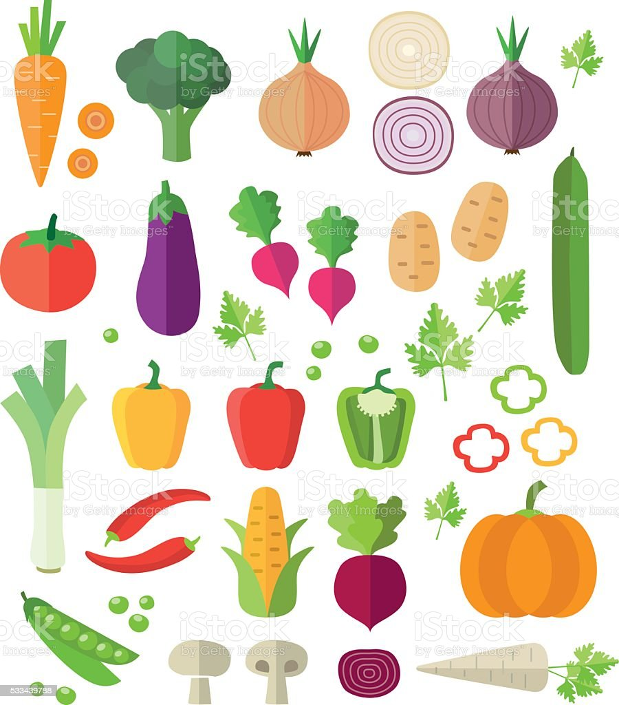 Vegetables Icons - Background vector art illustration