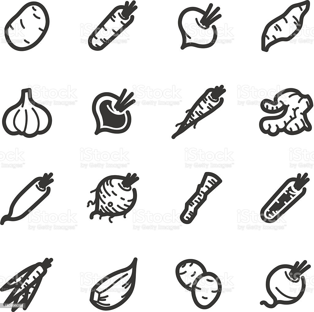 Vegetables icons – Bazza series vector art illustration