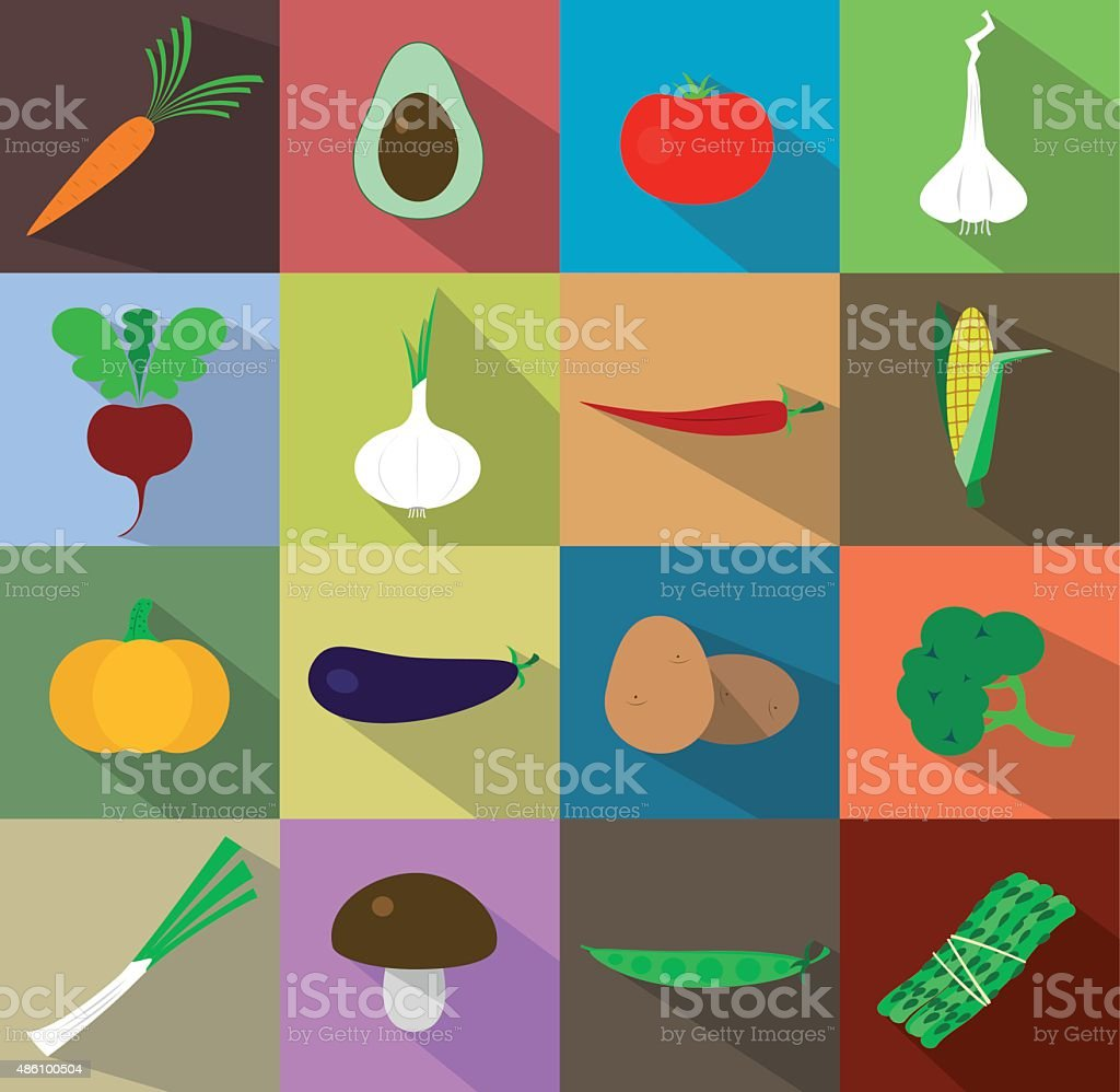 Vegetables icons flat set vector art illustration