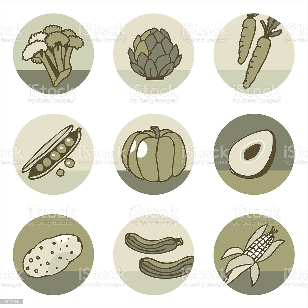 Vegetables icons set 2 royalty-free stock vector art