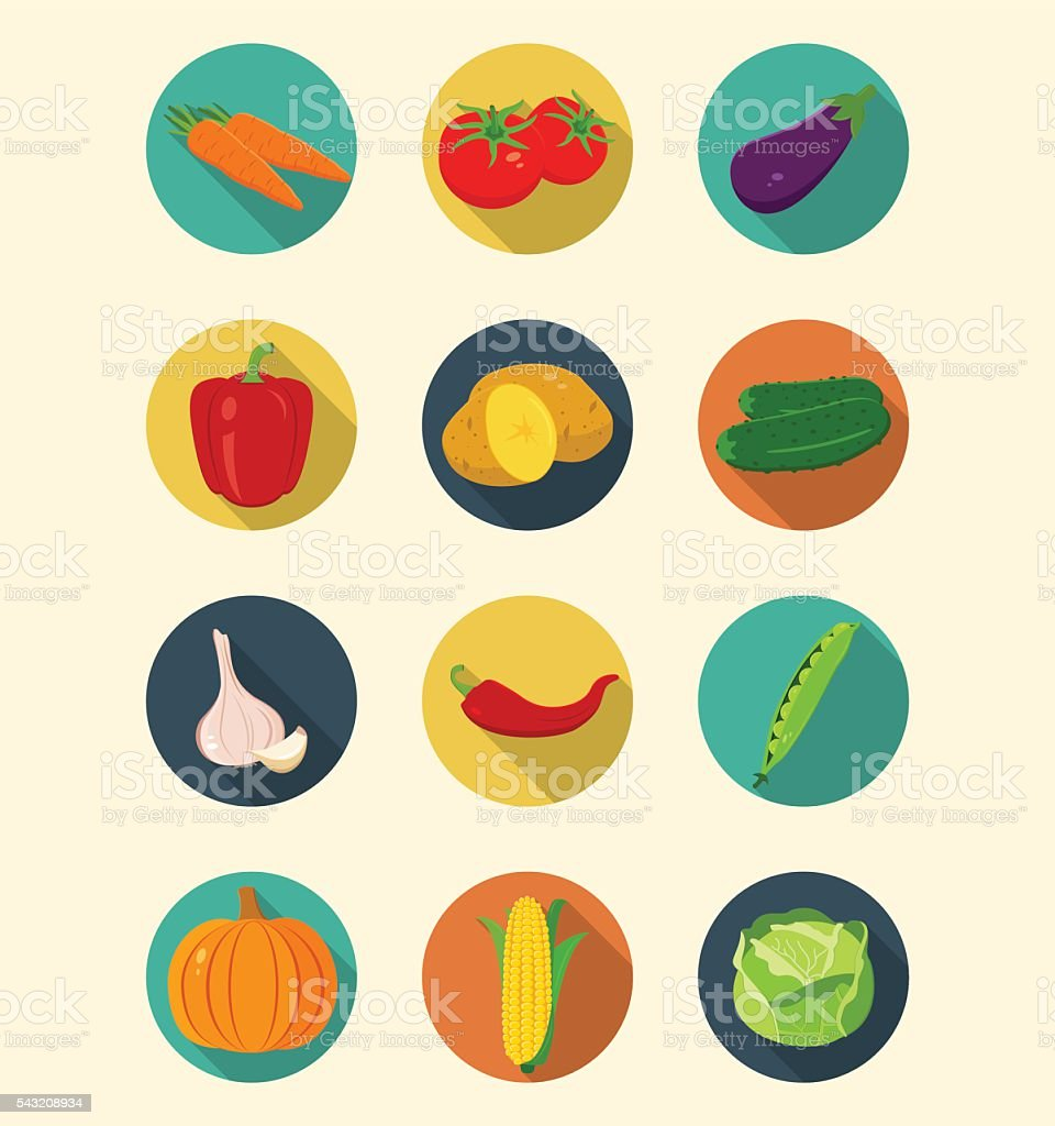 Vegetables icons set modern flat design. Healthy eating concept. Vector royalty-free stock vector art