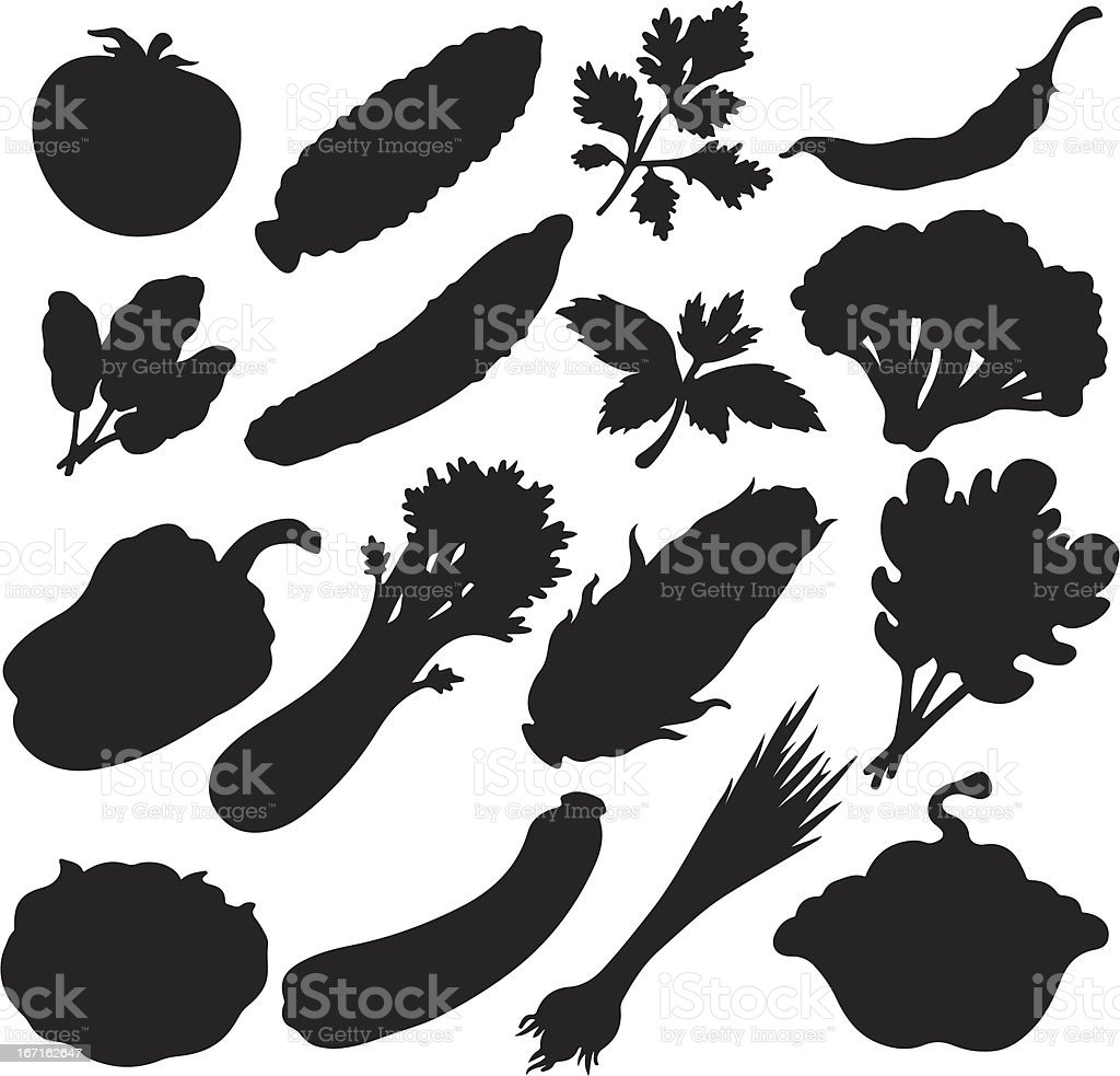 Vegetables icons set of black silhouette royalty-free stock vector art