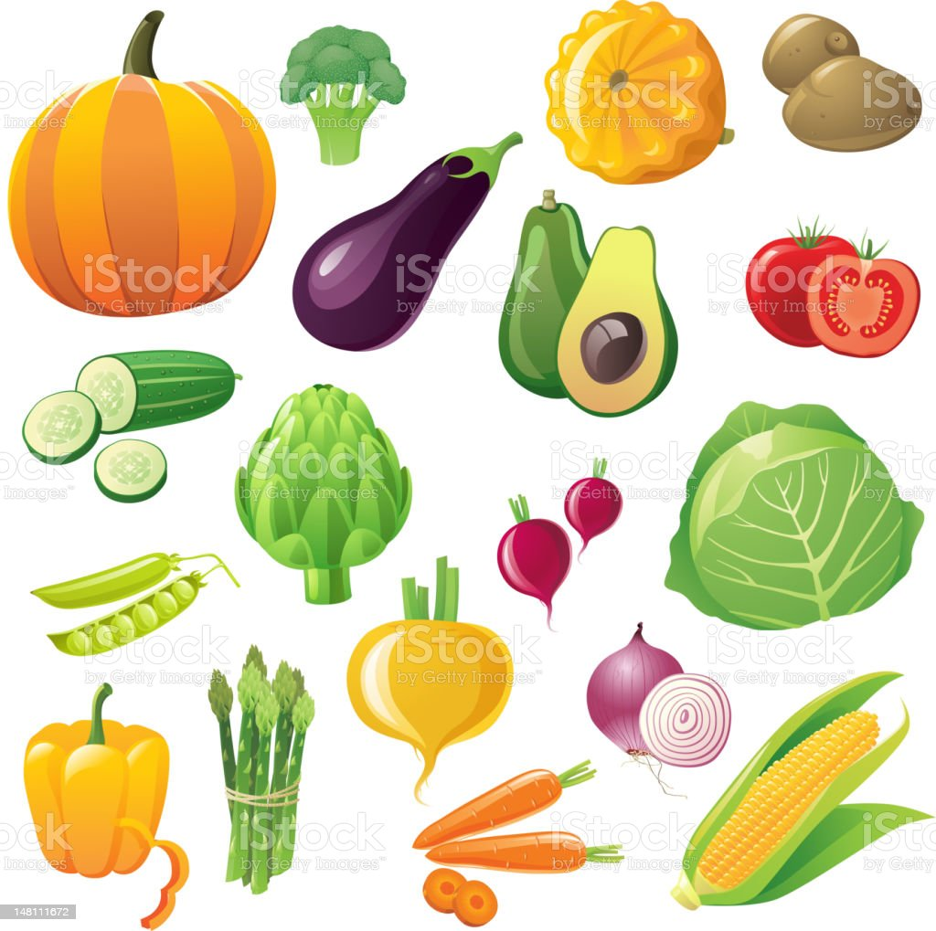 vegetables icons set vector art illustration