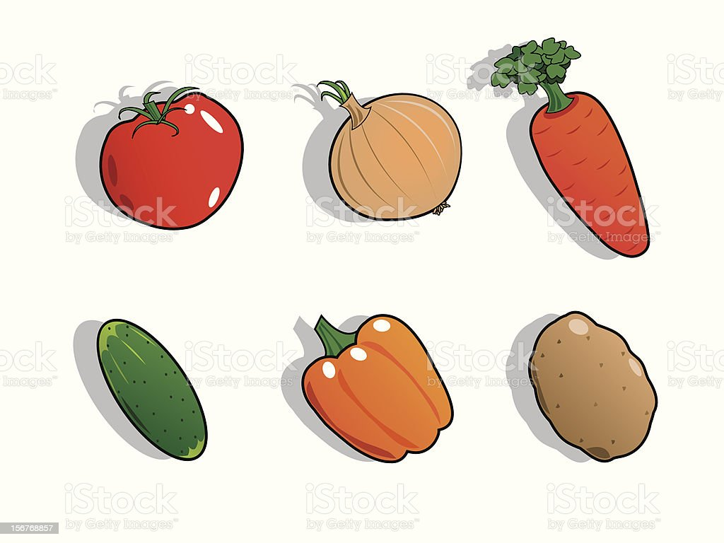 Vegetables icons set royalty-free stock vector art