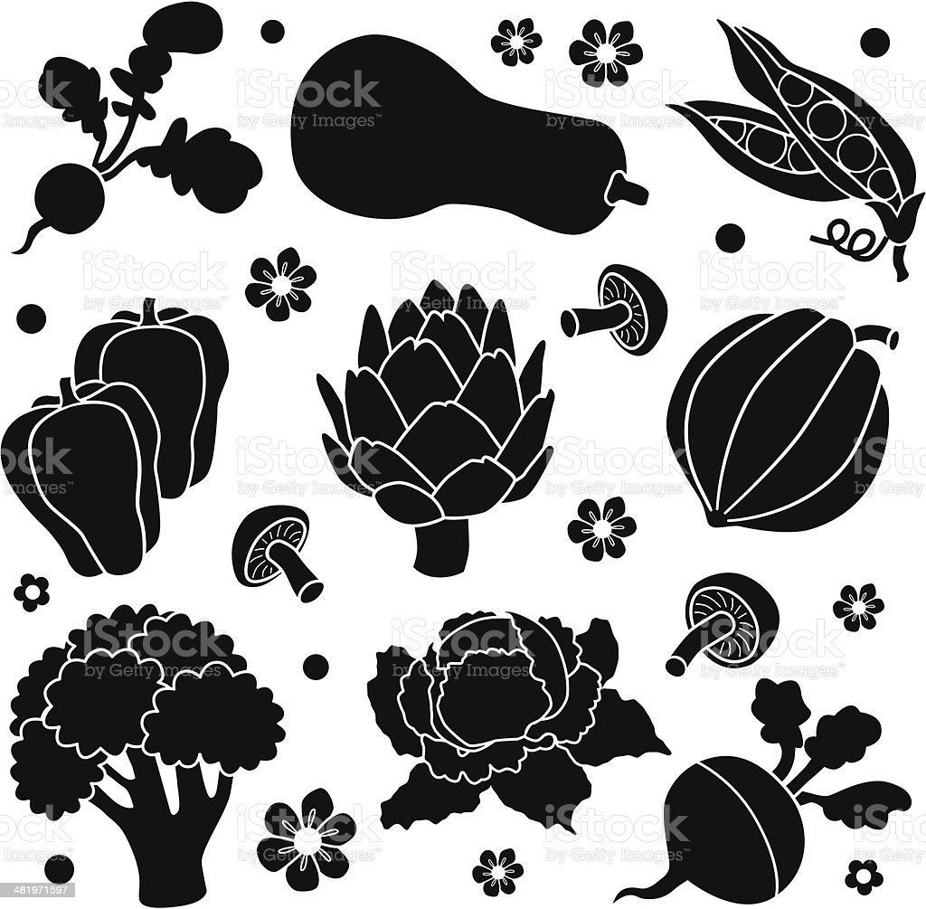 vegetables icons vector art illustration