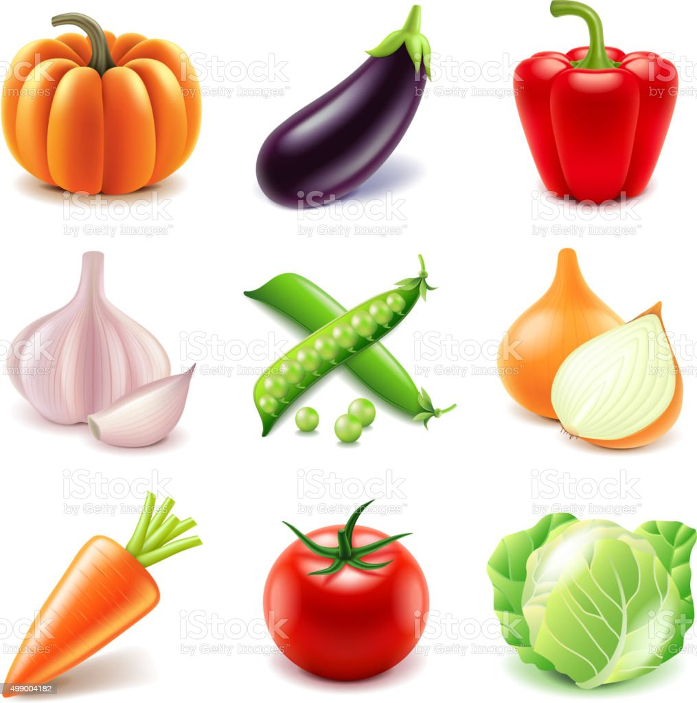Vegetables icons vector set vector art illustration
