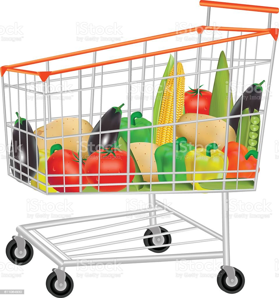 Vegetables In Shopping Trolley vector art illustration