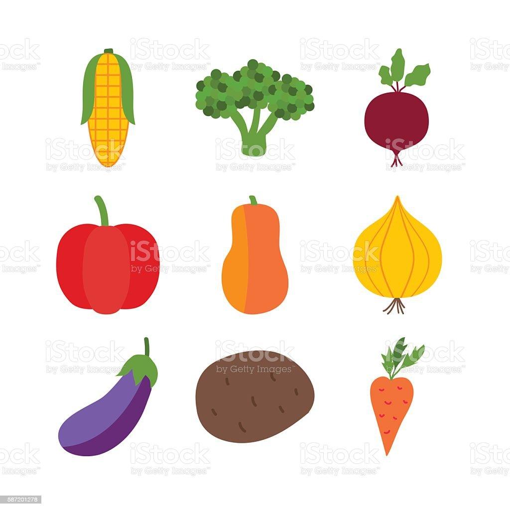 Vegetables isolated over white vector art illustration