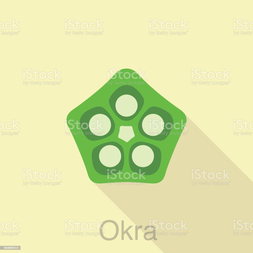 Vegetables Okra food flat icon vector art illustration