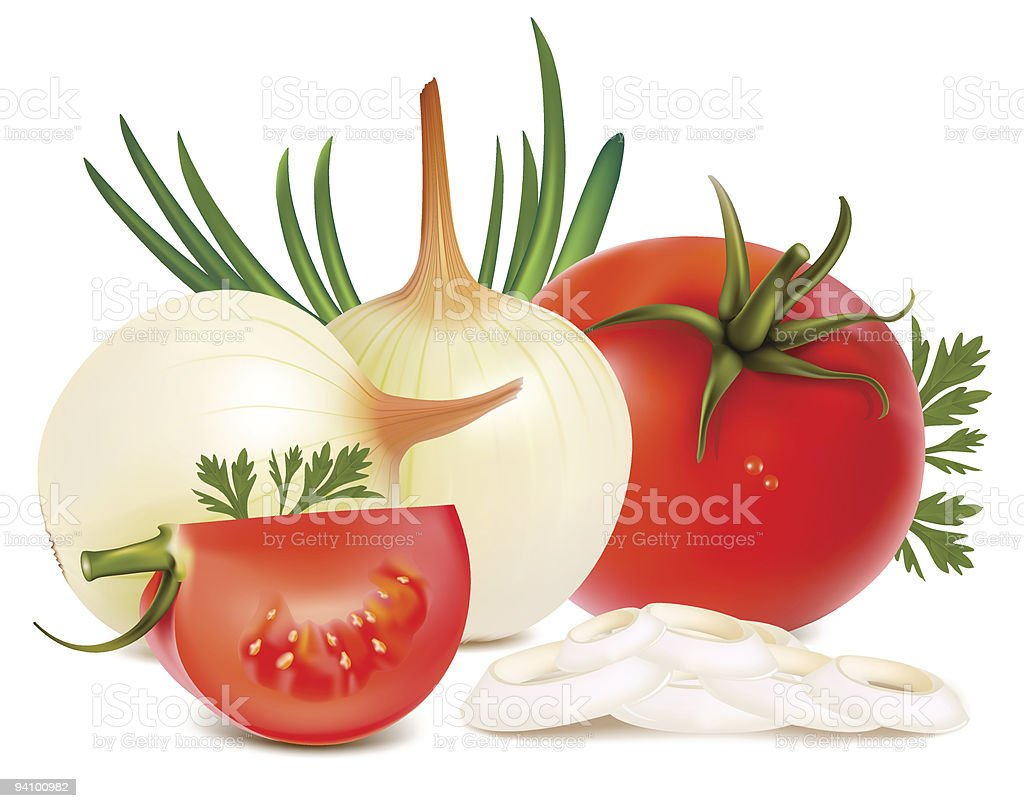 Vegetables: onions and tomatoes. royalty-free stock vector art