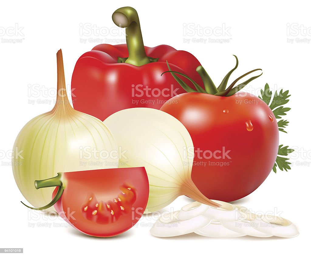 Vegetables: onions, pepper and tomatoes. royalty-free stock vector art