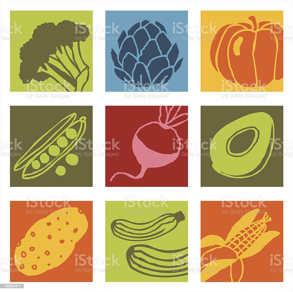Vegetables pop icons 2 royalty-free stock vector art