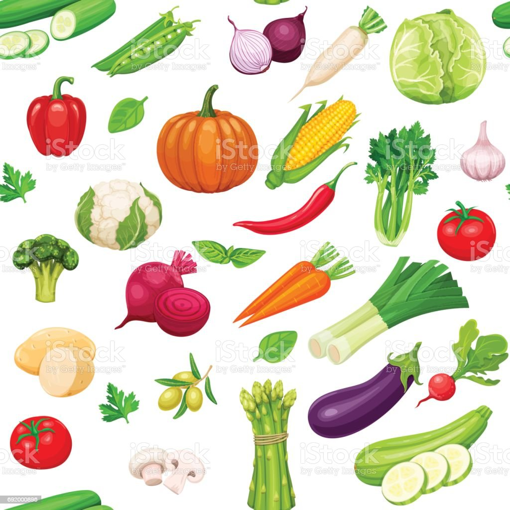 Vegetables seamless pattern vector art illustration