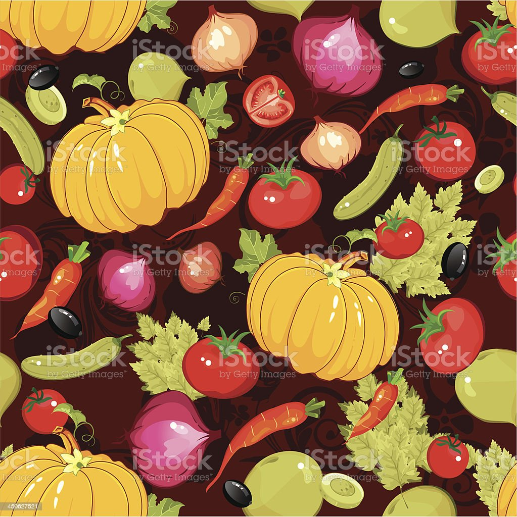 Vegetables seamless patternon a black background royalty-free stock vector art
