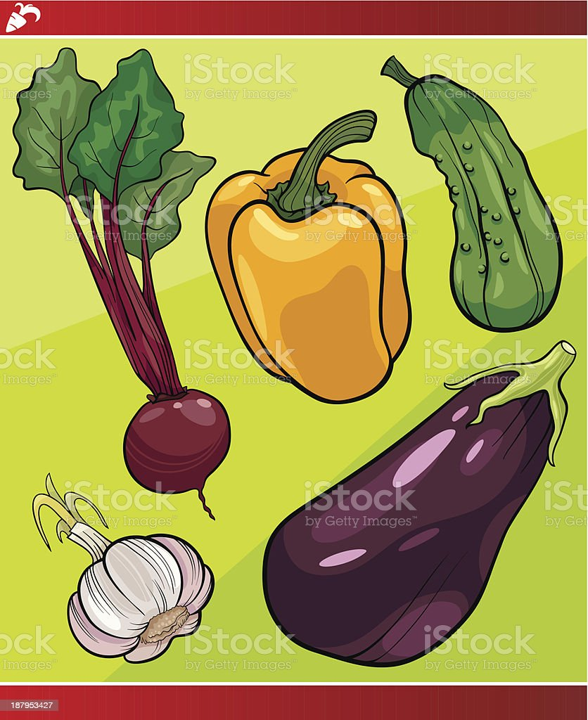 vegetables set cartoon illustration royalty-free stock vector art