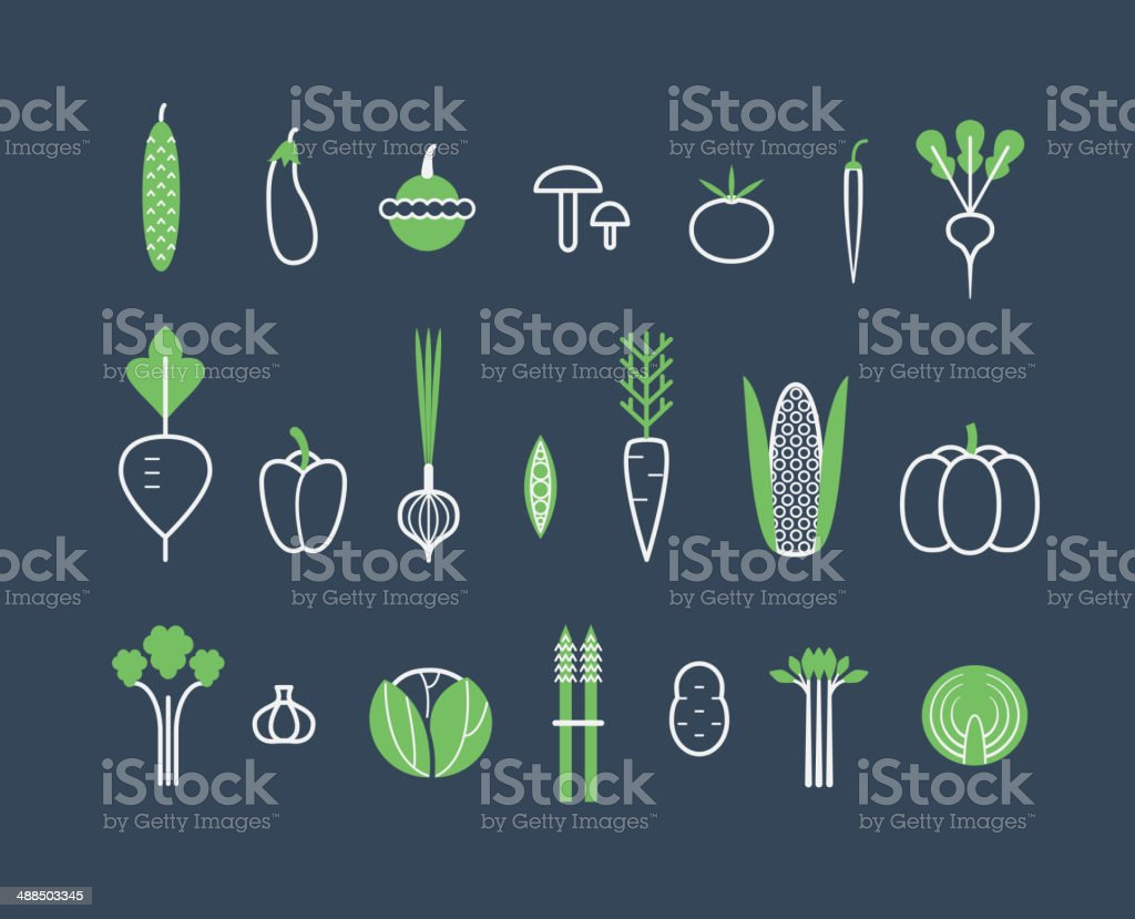 Vegetables set. Icons. Isolated vector art illustration