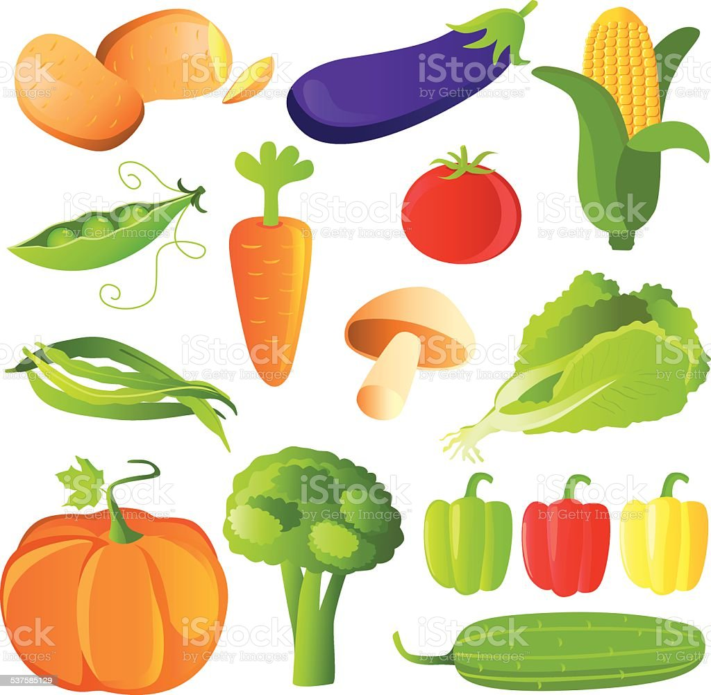 Vegetables Set in Glossy Style vector art illustration