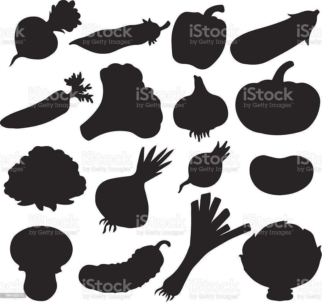 Vegetables set of black silhouette vector art illustration
