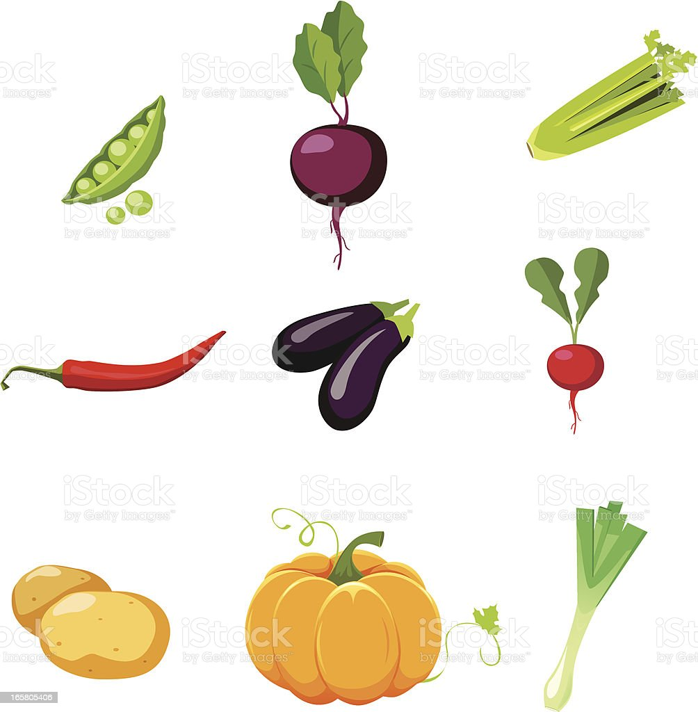 vegetables set vector art illustration