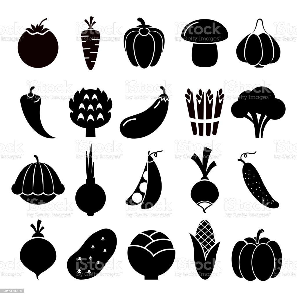 Vegetables silhouettes icons vector art illustration