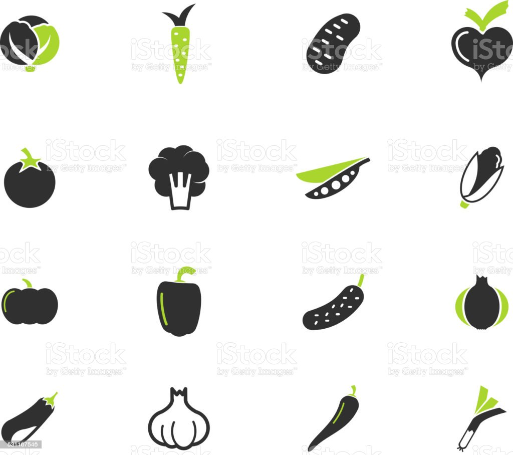 Vegetables simply icons vector art illustration