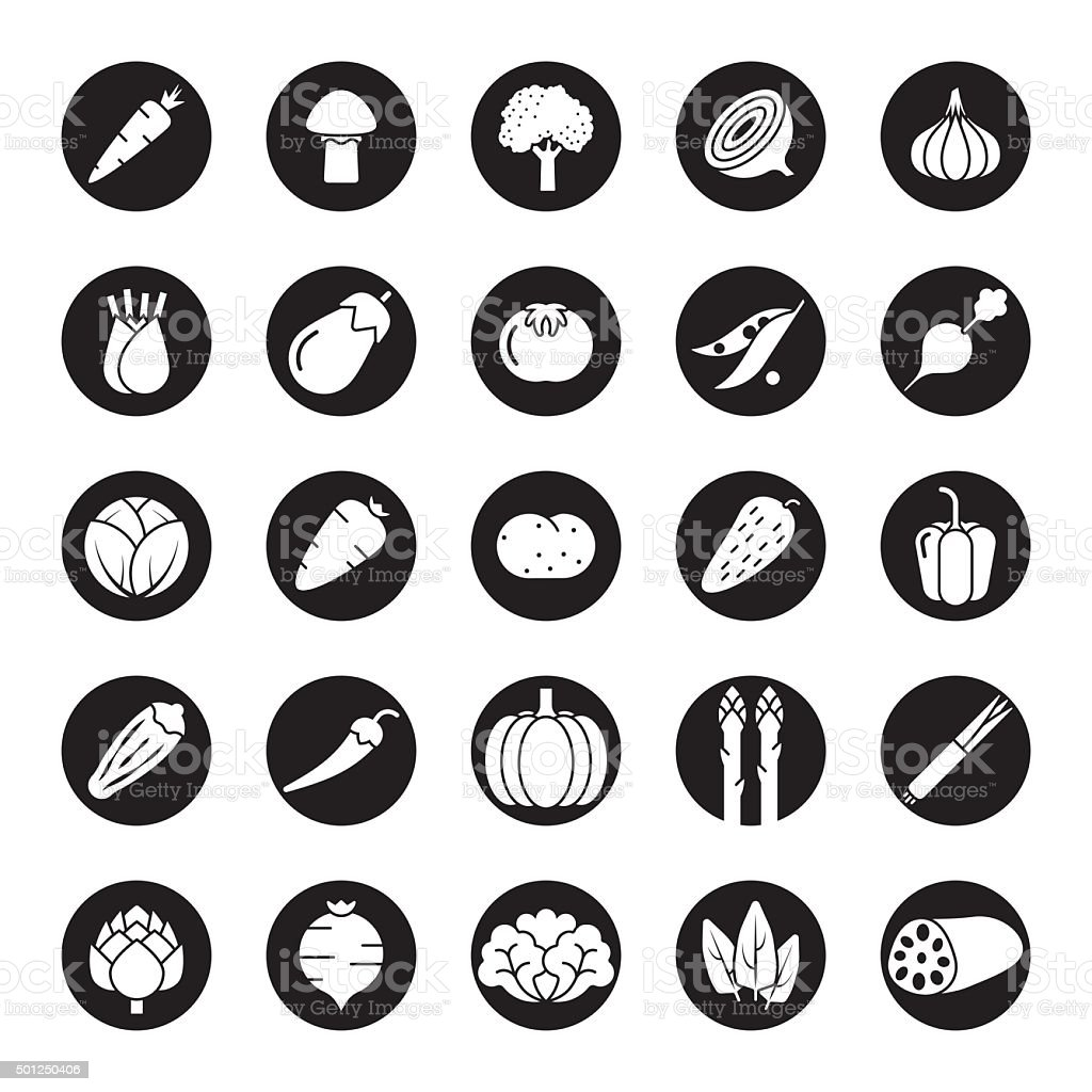 Vegetables Solid Round Vector Icon Set vector art illustration