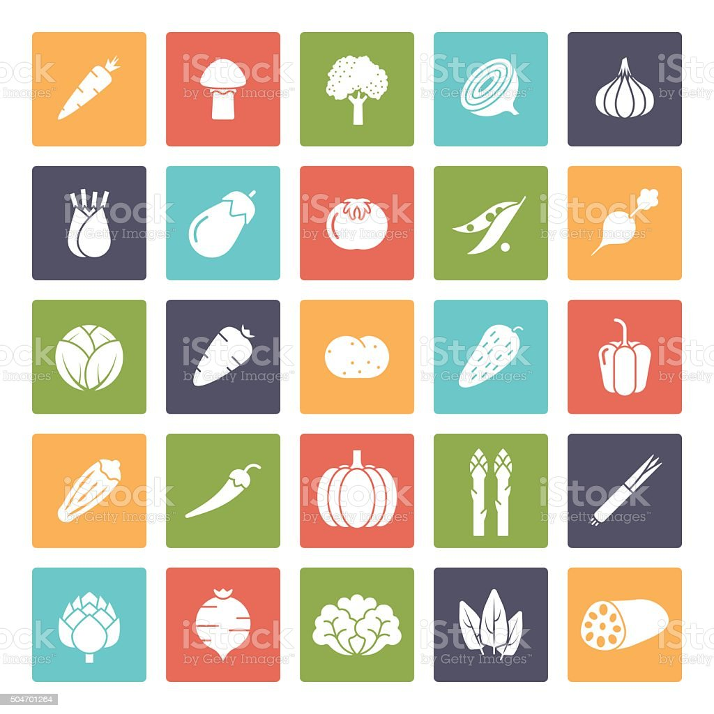 Vegetables Solid Square Vector Icon Set vector art illustration
